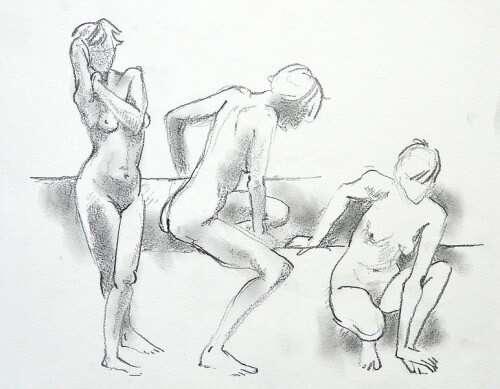 Drei aufeinanderfolgende Stellungen eines Aktmodells