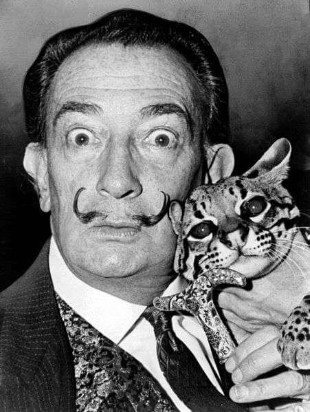 Salvador Dali mit Babou, dem Ozelot (1965)