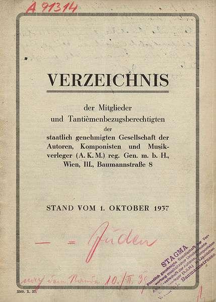 Mitgliederverzeichnis der AKM von 1937
