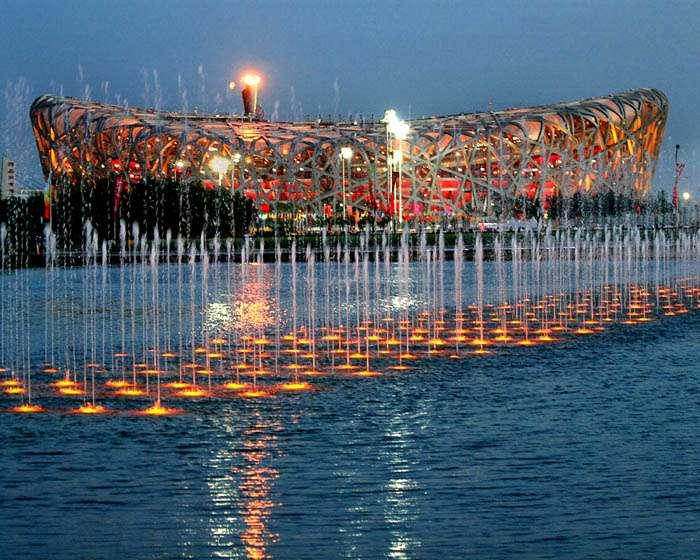 Flamme der Olympischen Spiele 2008 im Pekinger National Stadium