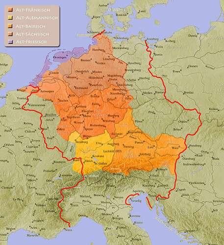 Althochdeutsche Sprachräume im Jahre 962