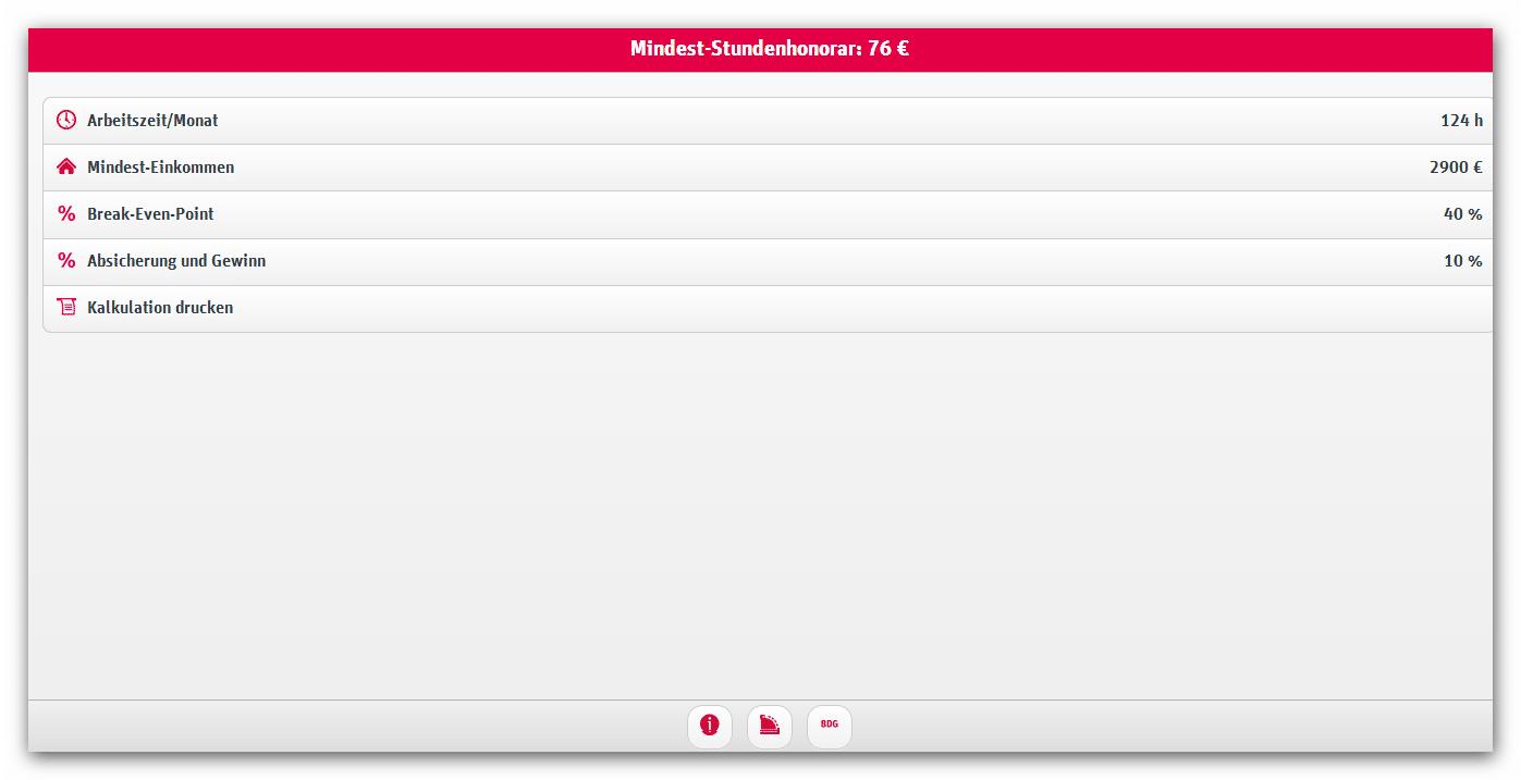 Der BDG Stundensatz-Kalkulator (Beispielrechnung, Screenshot)