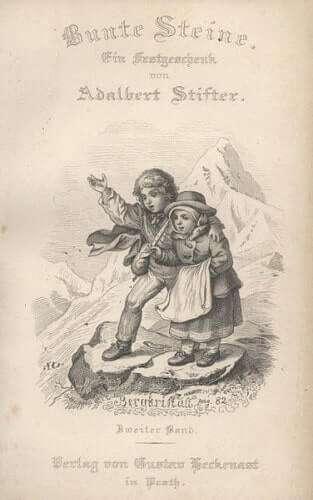 Frontspiz des zweiten Bandes von Stifters Bunte Steine. Dargestellt ist eine Szene aus Bergkristall