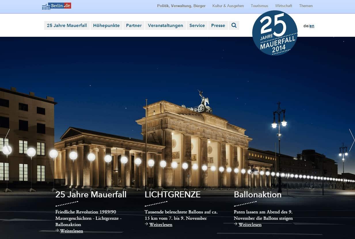 25 Jahre Mauerfall 2014 auf berlin.de