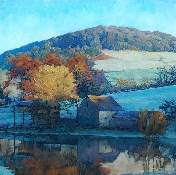 """""""River Barn"""" Limited Edition Kunstdruck von Paul Burgess"""