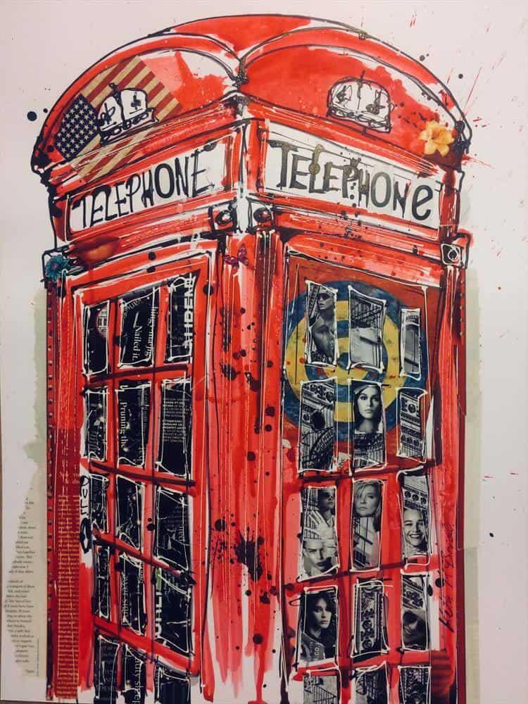 """Phonebox"" - Mixed Media Collage von Keith Mcbride"
