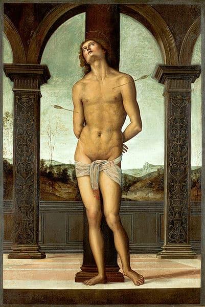 """""""St. Sebastian an eine Säule gefesselt"""" von Pietro Perugino"""