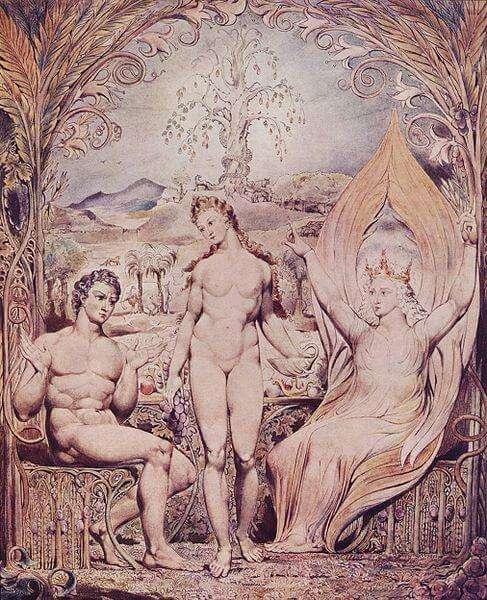 William Blake: Erzengel Raphael mit Adam und Eva (1808)