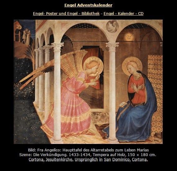 Engel Adventskalender auf onlinekunst.de
