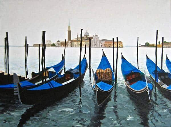 """Gondolas On the Grand Canal Venice"" - handgemaltes Acrylgemälde von Laurie Phillips"