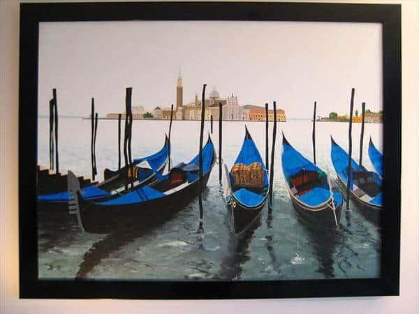 """Gondolas On the Grand Canal Venice"" - handgemaltes Acrylgemälde von Laurie Phillips"