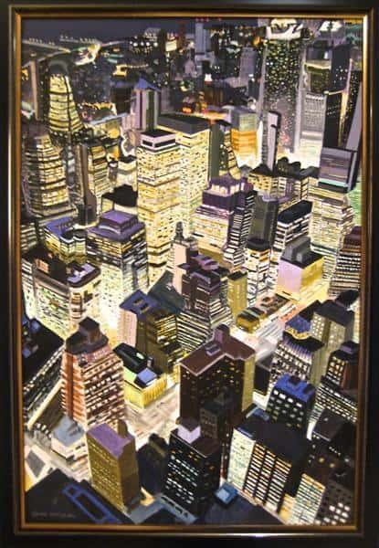 """""""New York by Night"""" - handgemaltes Acrylgemälde von Laurie Phillips"""