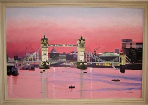 """Evening At Tower Bridge"" - handgemaltes Acrylgemälde von Laurie Phillips"