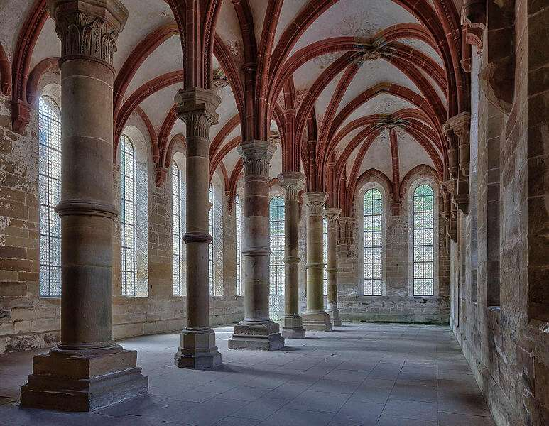 Herrenrefektorium Kloster Maulbronn, Speisesaal der Mönche, Frühgotik; Unesco-Weltkulturerbe