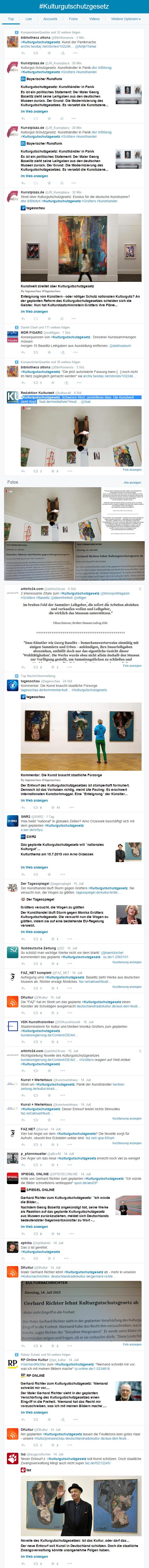 Twitterstream zum Thema Kulturgutschutzgesetz (Auszug vom 16.07.2015, 16:10 Uhr)