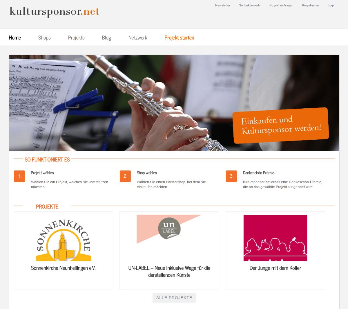 kultursponsor.net (Screenshot vom Oktober 2015)