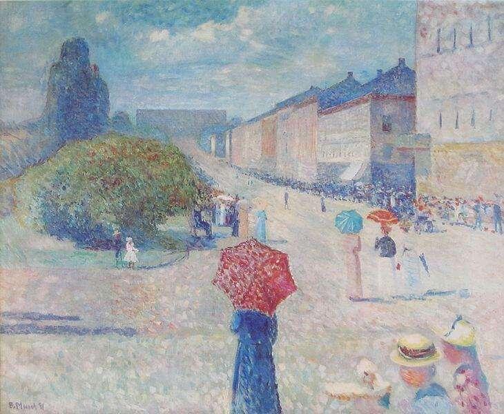 Edvard Munch - Frühling auf der Johan Karl Straße (1890)