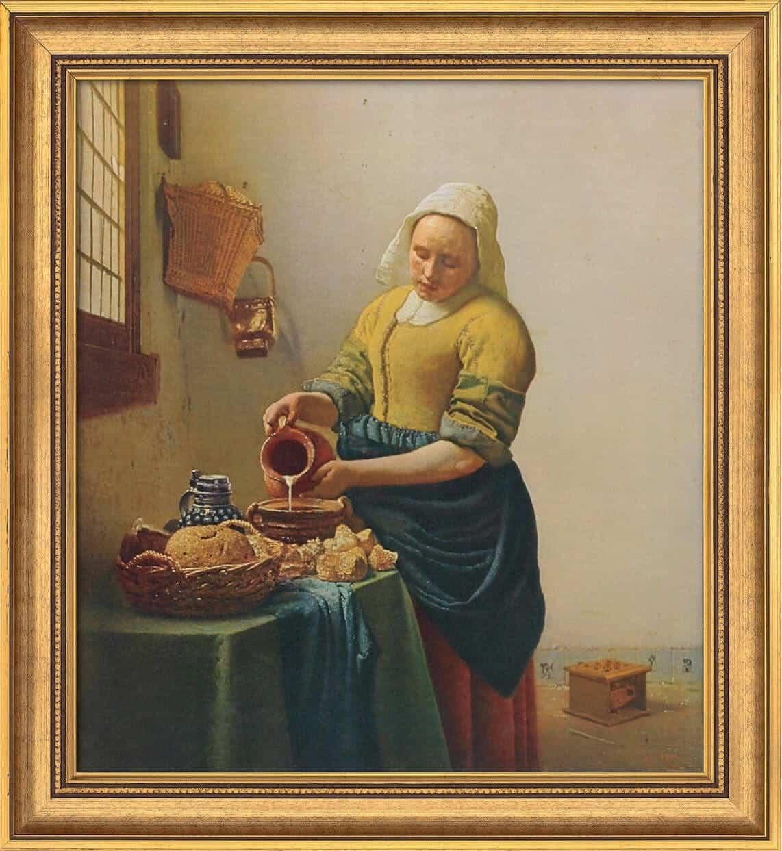 """""""Dienstmagd mit Milchkrug"""", limitierte Reproduktion von Jan Vermeer van Delfts Werk"""
