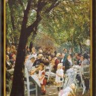 """Max Liebermann: Ölgemälde """"Münchner Biergarten"""" (1884) - Repdroduktion"""
