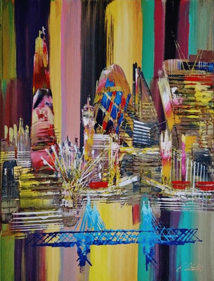 """London Skyline Painting 0699"" - Abstraktes Acrylgemälde von Eraclis Aristidou"