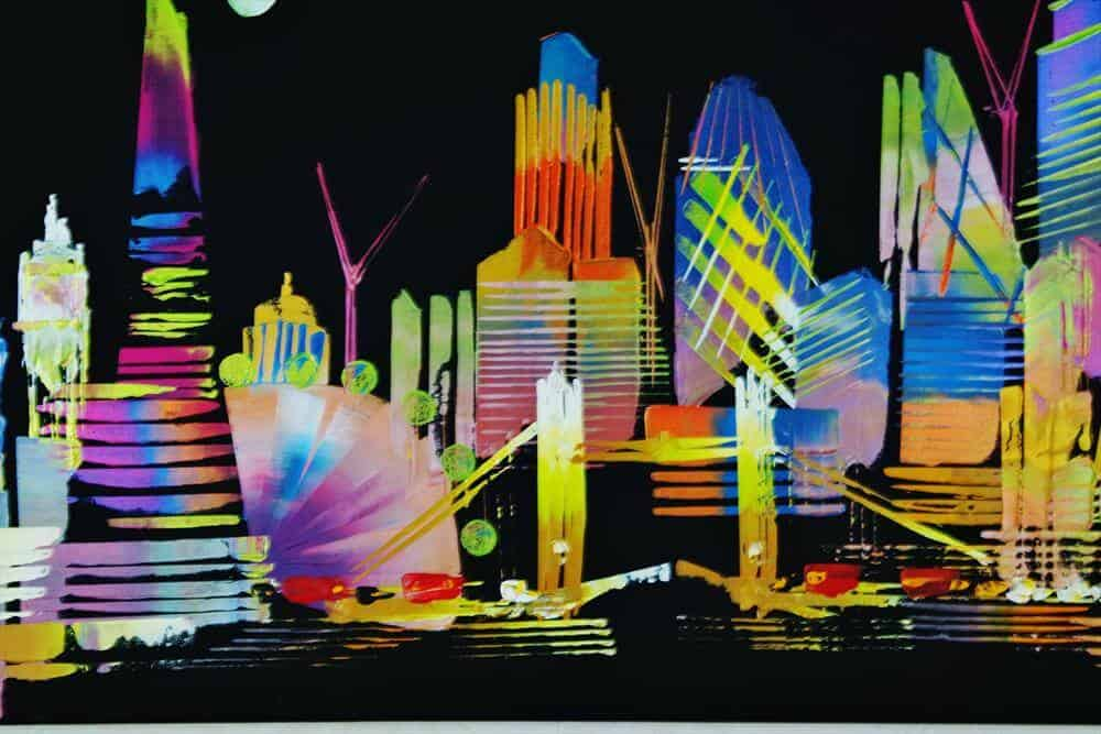 """""""City Of London Night Skyline Abstract Painting 957"""" - Abstraktes Acrylbild von Eraclis Aristidou"""