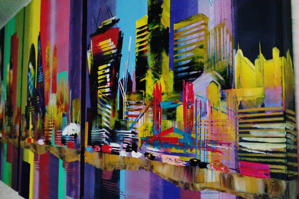 """City London Bridge 0737"" - 3-teiliges Acrylgemälde von Eraclis Aristidou"