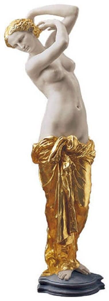 "Jean-Baptiste Carpeaux: Skulptur ""La Toilette de Venus"" (1855), Kunstmarmor teilvergoldet"