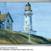 """""""Leuchtturm bei Two Lights"""" - Limitierte Druckgrafik von Edward Hopper"""