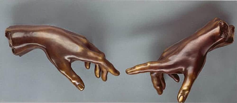 "Michelangelo Buonarroti: Wandobjekt ""Die Erschaffung des Adams"" (Bronze)"