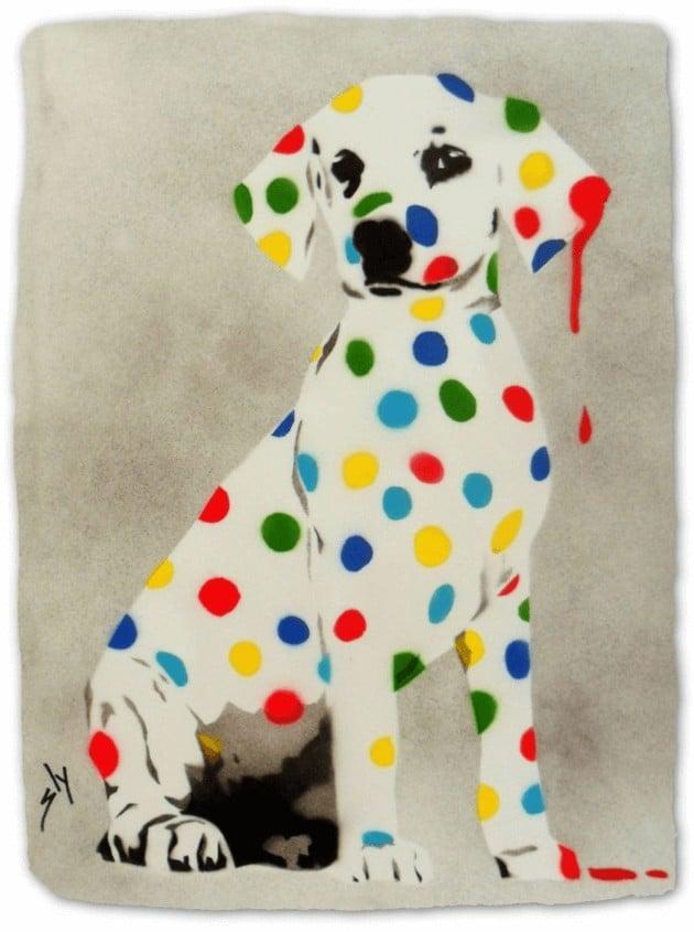 """""""Damien's Dotty, Spotty, Puppy ..."""" - Urban Art Werk von Juan Sly (Spray Paint)"""