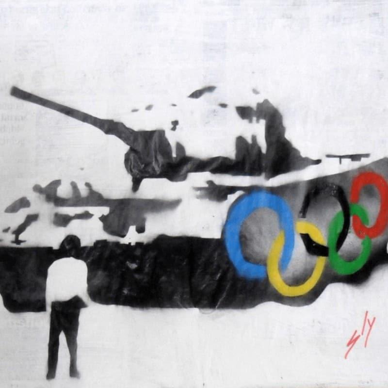 """""""Sinolympics"""" - Spray-Paint Bild des britischen Urban Art Künstlers Juan Sly"""