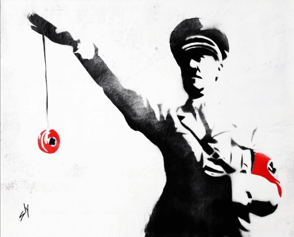 """""""Yo-yo Hitler"""" - Spray-Paint Bild des britischen Urban Art Künstlers Juan Sly"""