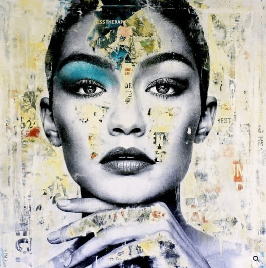 """She treats me well"" - Mixed Media Collage des Street Art Künstlers Michiel Folkers"