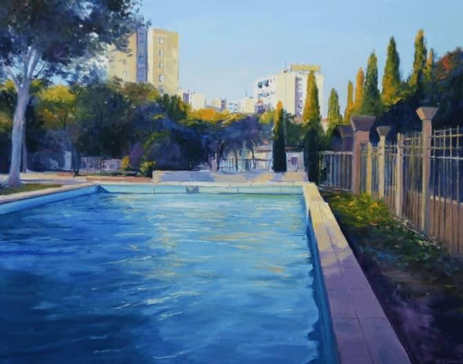 """""""View From The Park"""" - Ölgemälde von Behshad Arjomandi"""
