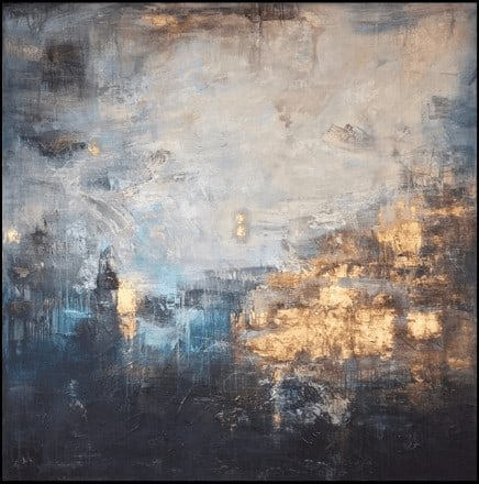 """Großformatiges abstraktes Ölgemälde """"Gold and Blue"""""""