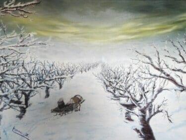 Winterbild in Öl auf Leinwand