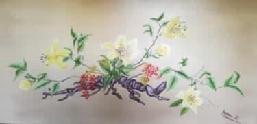 Ikebanakunst in Öl