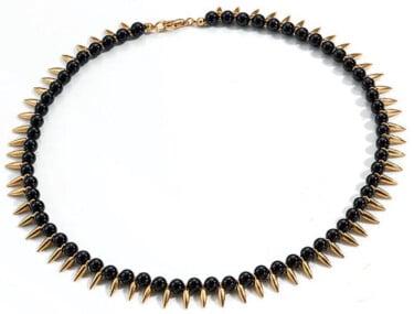 """Collier """"Lotus"""" im Stile des pharaonischen Ägyptens - Vergoldet mit Onyxperlen"""