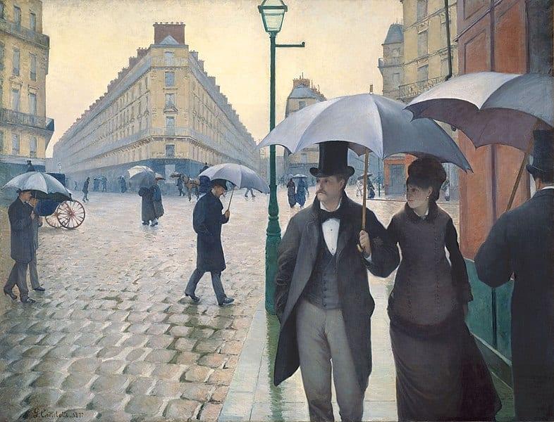 Kunstkopie Gemälde auf Leinwand: Straße in Paris an einem regnerischen Tag von Gustave Caillebotte