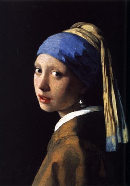 Kunstkopie Gemälde auf Leinwand: Das Mädchen mit dem Perlenohrgehänge / Girl with a Pearl Earring von Jan Vermeer