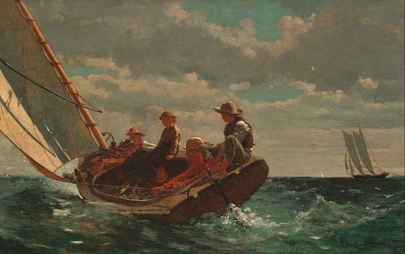 Kunstkopie Gemälde auf Leinwand: Es frischt auf / Breezing Up A Fair Wind von Winslow Homer