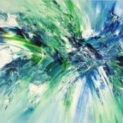 """""""Underwater Daylight L 2"""" - Dynamisches abstraktes Acrylgemälde von Peter Nottrott"""
