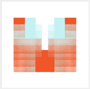 """""""Red and Sky Blue Symmetrical Structure: Soft Geometry"""" - Abstrakte Kunst von Jessica Poundstone"""
