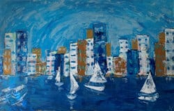 """Auckland """" City of Sails"""" Abstract Acrylic Painting 75x116"""