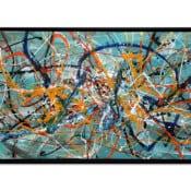 "abstraktes Gemälde ""Nordic Floating"" gerahmtes Unikat von Dieu (2020)"