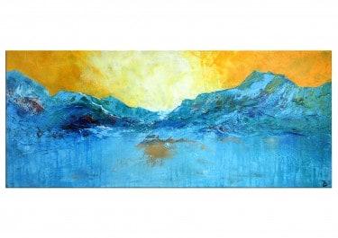 """abstrakte Landschaft """"Blue Mountain (Am Gletscher)"""" Originalgemälde von T. Stephan"""