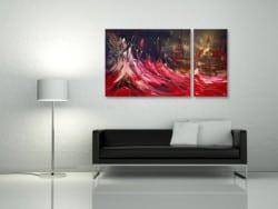 "Abstraktes Wandbild ""Untergang"" Unikat von L. Schade Fox"