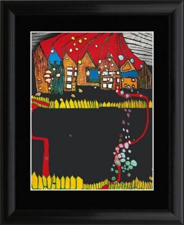 """Friedensreich Hundertwasser: """"Häuser im Schnee im Silberregen mit rotem Weg"""", Artprint"""