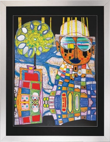 """Friedensreich Hundertwasser: Kunstwerk """"Tropenchinese"""", gerahmt"""