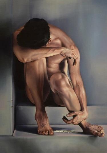 """Fotorealistisches Ölgemälde """"Why"""" von Duhaj Peter - Männlicher Akt"""